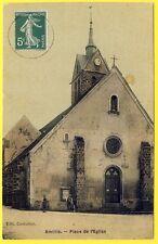 cpa RARE 77 - VILLAGE d' AMILLIS (Seine et Marne) Place de l' ÉGLISE Animée