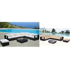Divano nero marrone rattan poltrona tavolino set giardino arredo esterno |6s