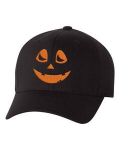 Halloween Pumpkin Custom Flex Fit Hat, Baseball Hat with Jack Olantern