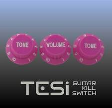 Tesi Stratocaster Knob Set - Pink, White Ink. Call it Violet if you want.