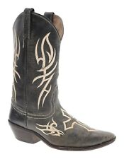Justin Cowboy Boots 8.5 B Womens ROCKER Distressed Leather Iron Cross Rockabilly
