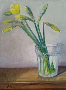Original Oil Painting Still Life 'Daffodil buds' by E. Kiss