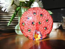 ❤ Hand Blown PEACOCK Glass Paperweight Millefiori
