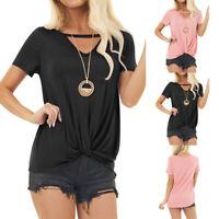 Womens Short Sleeve V Neck T-Shirts Loose Twist Knot Tunic Tops Blouse Shirt US