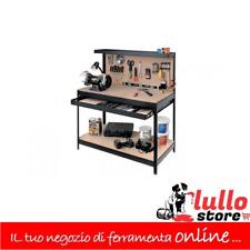 Banco da lavoro con pannello portautensili cassetto mensola 121x61x93/150 h