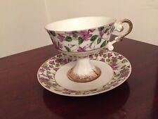 Purple Chinz Bone China Cup and Saucer~Sits on Pedestal