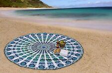 paon Rond Plage jeter Tapis de yoga hippie bohème Tapisserie Rond de Serviette