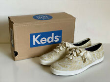 NEW! KEDS CHAMPION SWIRLY PAISLEY PRINT GOLD CASUAL SHOES SNEAKERS 6 36 SALE