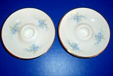 2 Royal Kent Small Bone China Candle Holders Staffordshire England Blue Floral