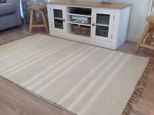 ❤️Grey & Triple White Stripe Cotton & Jute Rug Fringing 120cm x 180cm Flat Weave