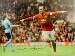 Manchester United Wayne Rooney Autographed 12x16 Photo BAS Beckett COA