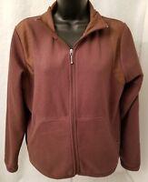 Silver Wear Womens Brown Zipper Front Fleece Jacket Coat Size M