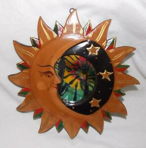 Large Fair Trade Wooden Mirror Hand Painted Sun And Moon Hippy From Indonesia