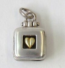 Square Locket by M. Bromberg Sterling Silver Vermeil Golden Heart