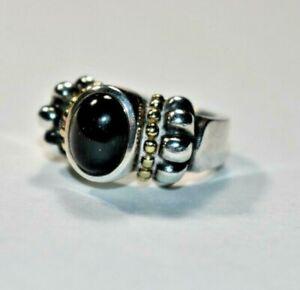 Stunning LAGOS CAVIAR Sterling Silver & 18K Gold Onyx Gemstone Ring Sz 4.5