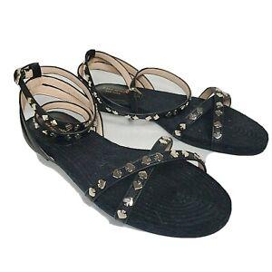 Kate Spade women flat sandals Mai Tai Flat Black leather jute gold hearts 7.5