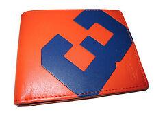 Polo Ralph Lauren Orange Leather Royal Blue Racing # 3 Bifold Wallet