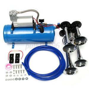 4 Trumpet Vehicle Car Air Horn 12V 24V Compressor Tubing 150DB Train 120 PSI Kit