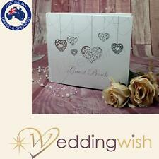 Guest Book - Silver Heart Design Guest Book, Wedding Keepsake, Memory Book