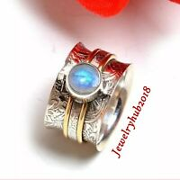 Rainbow Moonstone  Solid 925 Sterling Silver Spinner Ring Meditation Ring sr8920