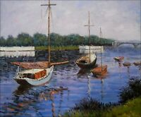 Hand Painted Oil Painting Repro Caillebotte basin at Argenteuil 20x24in