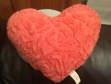 Lovely Primark Coral Heart Shaped Soft Fluffy Cushion.