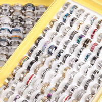 Wholesale 100pcs Big Size mixed desgin Women men's Stainless steel rings Wedding