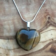 "Tiger's Eye Crystal Heart Pendant 25mm with 20"" Silver Necklace Positivity"