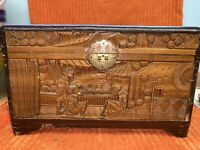 "Vintage Large Wood Oriental Carved Hinged Box 12"" X 7.5"" X 7 1/4"""