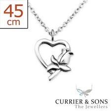 925 Sterling Silver Heart & Flower Pendant Necklace (45cm / 18 inch)