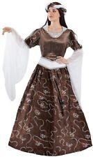 Déguisement Femme REINE Médiévale Marron luxe L 42 Castille Aragon NEUF