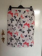 LAURA ASHLEY Butterfly Skirt Linen 12 Red Black Navy Blue White Straight Summer