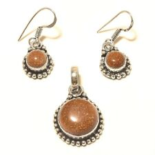 Sunstone Pendant Earring Silver Plated Gemstone Handmade Fashion jewelry