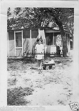 Vintage Photo 1920's  Young girl with her wagon in front of the family's home