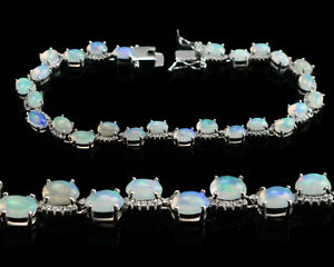 925 Sterling Silver 6x4 MM Oval Natural Opal Gemstone Jewelry Chunky Bracelet