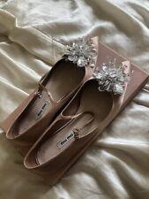Miu Miu Pink Silk Satin Pointy Jewelled Ballet Flats