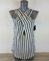 NELLY Stripe Cross Front Sleeveless Top Blouse Black / White Size Small B221-14