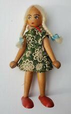 Vintage Peg Doll Scandinavian Wood Jointed Blonde Braids