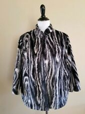 Alfred Dunner Faux Fur Jacket Manhattan Skyline Animal Print 3/4 Sleeve Sz 12P