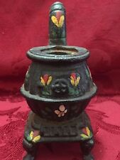 Cast Iron Black Pot Belly Stove Mini Doll House Small Painted Vintage no Lid 5""