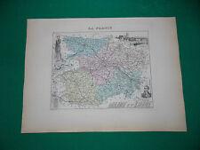 MAINE ET LOIRE CARTE ATLAS MIGEON Edition 1885, Carte + fiche descriptive