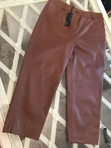 New Autograph 100% leather trousers cropped straight ankle grazer luxury 16 £199