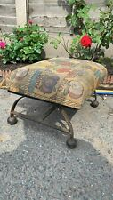 Beautiful Vintage Small Heavy Cast Iron Foot Stool With Padded Top (C1)