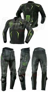 Nouvelle Arrivee Monster Homme Moto Combinaison Cuir Veste Pantalon Racer Armour