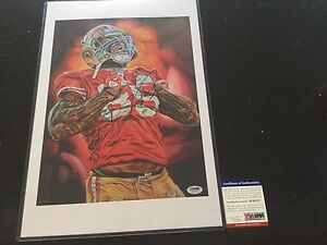 Vernon Davis Hand Signed Artwork Painting PSA DNA COA SF 49ers Autographed f