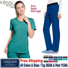 Cherokee Scrubs Set infinito de mujer de cuello redondo Top & Pantalón 2624A/1124A