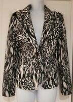 Womens Per Una Black White Animal Print Lined Stretch Jacket With Pockets 10.