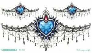 Women Temporary Under Breast Waist Tattoo Body Art Blue Diamond Heart Sexy BC005