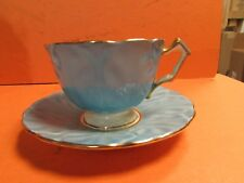 Aynsley  BLUE TURQUOISE CABBAGE LEAF CUP AND SAUCER