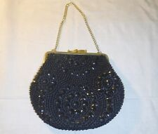 50S/60S GOLDEN NAME LUCITE BLACK BEADED HANDBAG DECO CLASP HAND CHAIN EXQUISITE